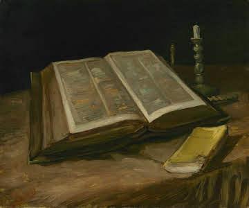 Natura morta con bibbia aperta